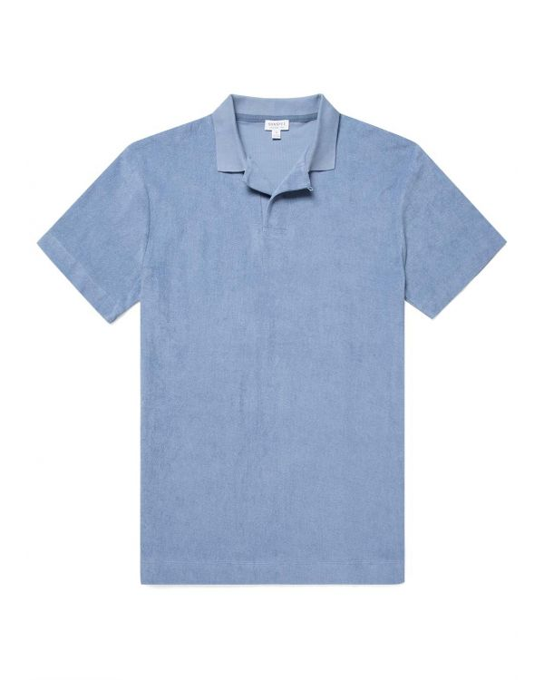 Men's Organic Cotton Towelling Relaxed Fit Polo Shirt in Blue Sky