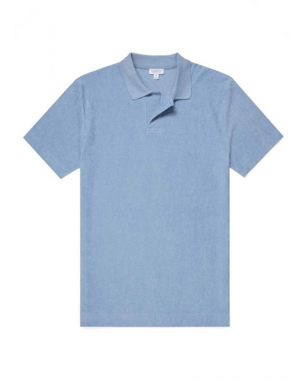 Men's Organic Cotton Towelling Relaxed Fit Polo Shirt in Washed Denim