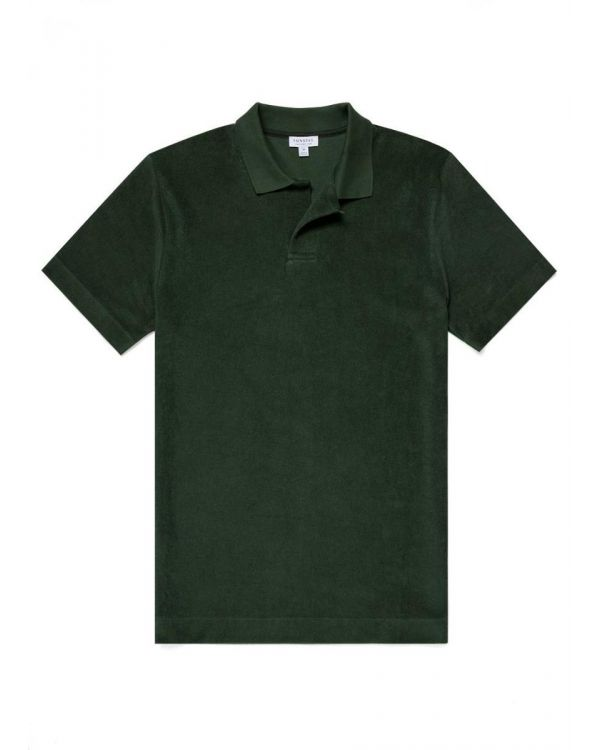 Men's Organic Cotton Towelling Relaxed Fit Polo Shirt in Dark Khaki