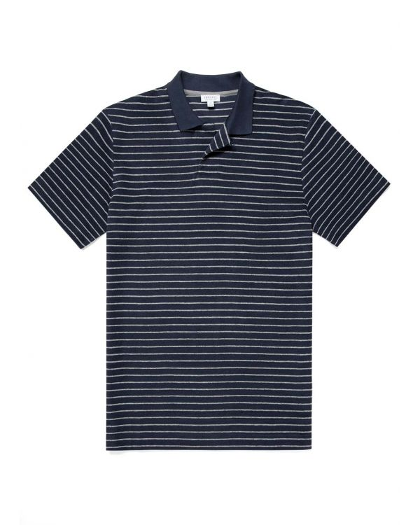 Men's Organic Cotton Towelling Relaxed Fit Polo Shirt in Navy/Grey Melange Stripe