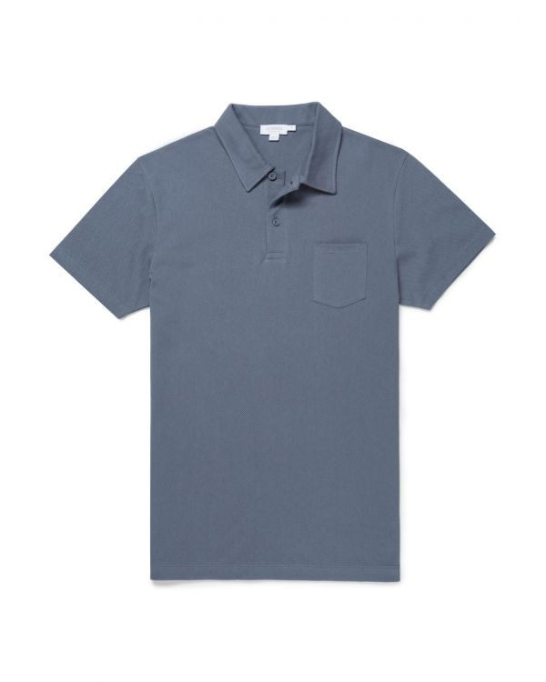 Men's Cotton Riviera Polo Shirt in Blue Slate