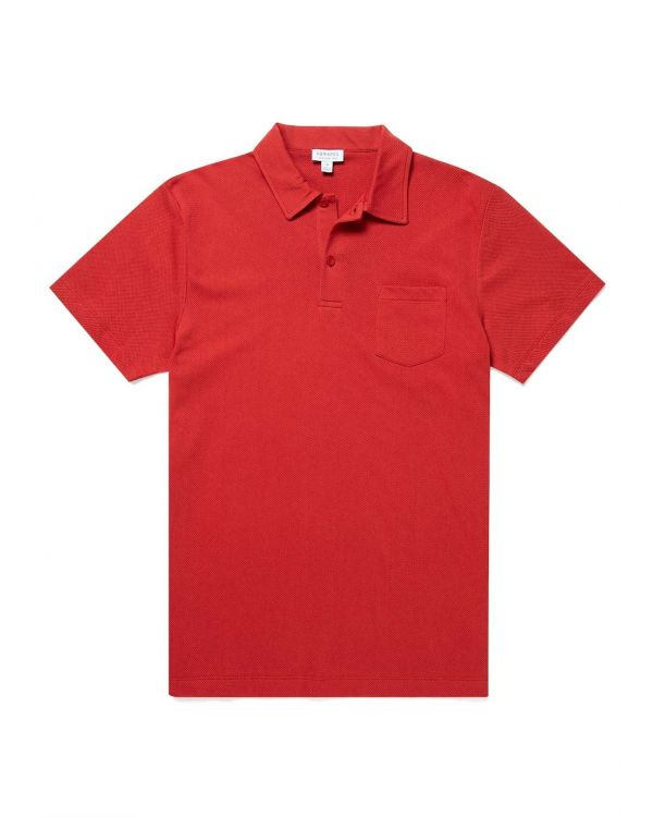 Men's Cotton Riviera Polo Shirt in Cherry Red