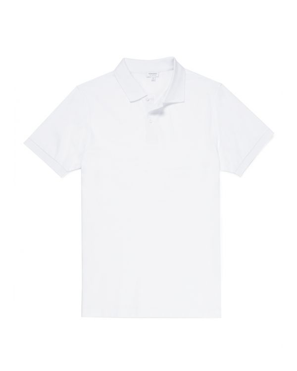 Men's Cotton Piqué Polo Shirt in White