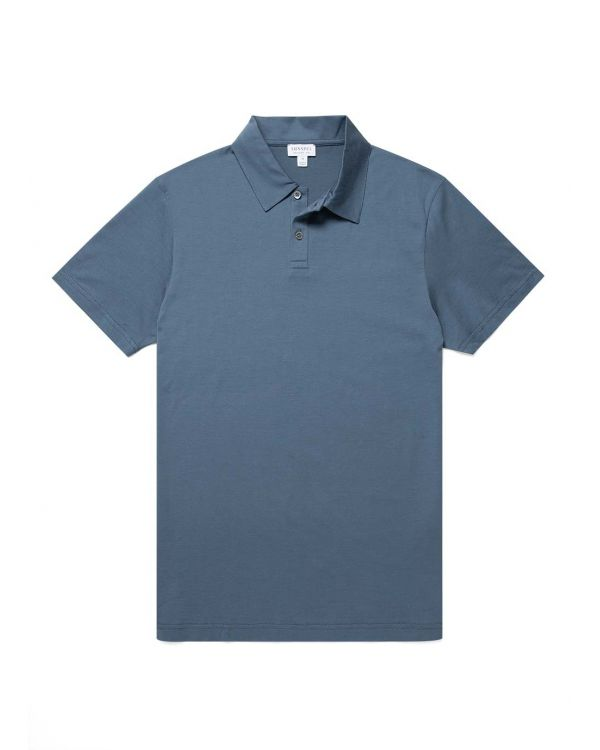 Men's Cotton Jersey Polo Shirt in Blue Slate