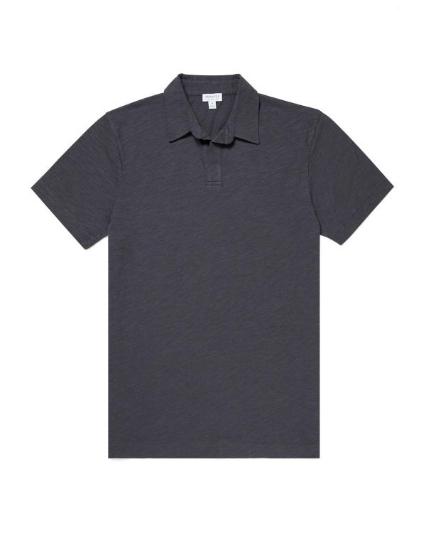 Men's Cotton Linen Buttonless Polo Shirt in Charcoal