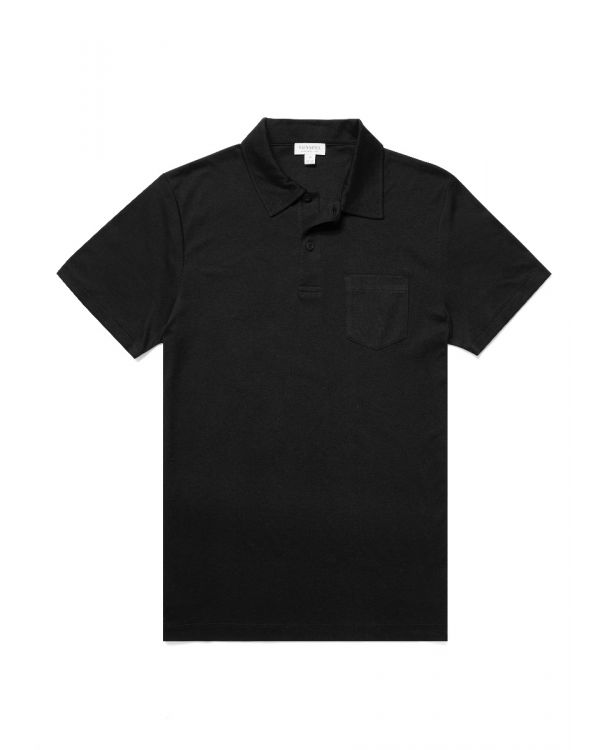 Men's Sea Island Cotton Riviera Polo Shirt in Black