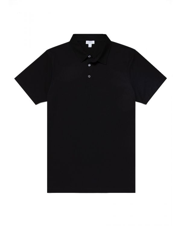 Men's Cotton Jersey Polo Shirt in Black