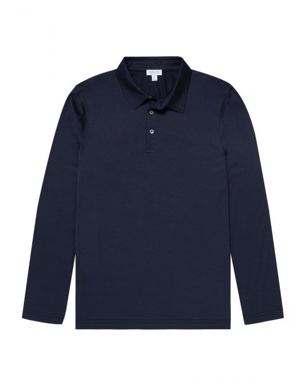 Men's Cotton Jersey Long Sleeve Polo Shirt in Navy