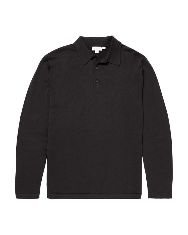Men's Sea Island Cotton Knit Long Sleeve Polo in Black