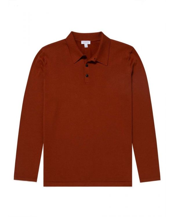 Men's Sea Island Cotton Knit Long Sleeve Polo in Spice