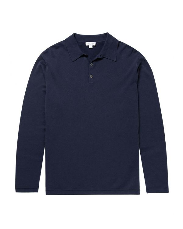 Men's Sea Island Cotton Knit Long Sleeve Polo in Light Navy