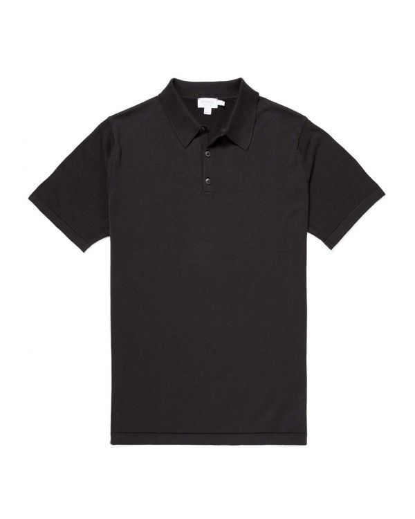Men's Sea Island Cotton Knit Polo in Black