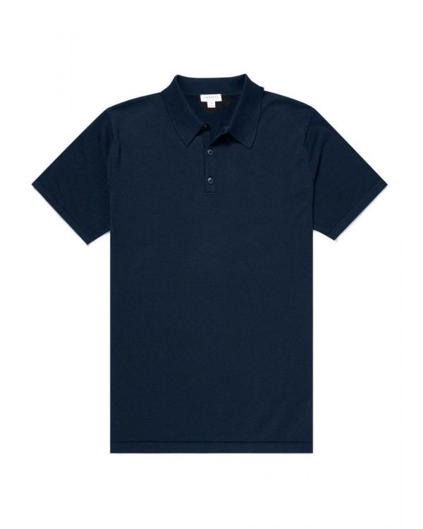 Men's Sea Island Cotton Knit Polo in Light Navy
