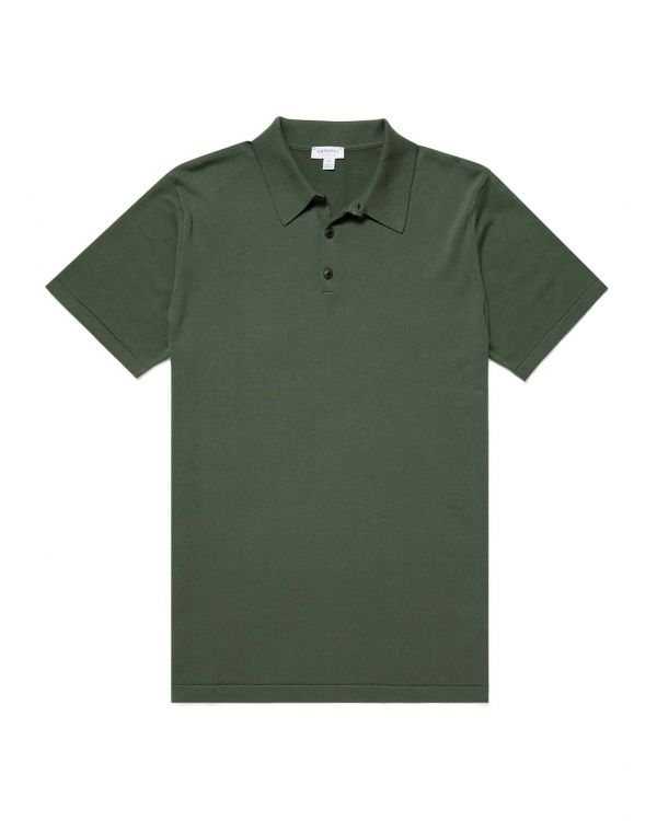 Men's Sea Island Cotton Knit Polo in Pine