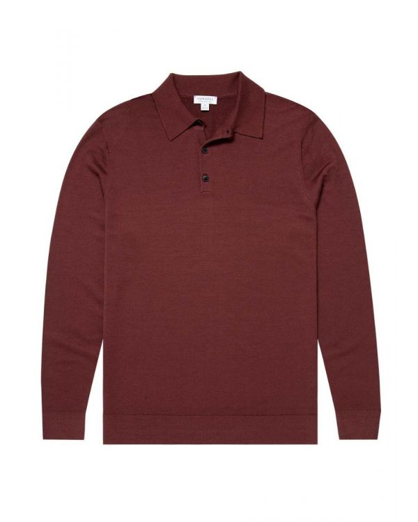 Men's Fine Merino Wool Polo in Merlot