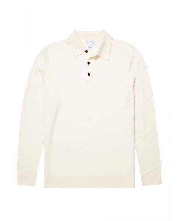 Men's Fine Merino Wool Polo in Archive White