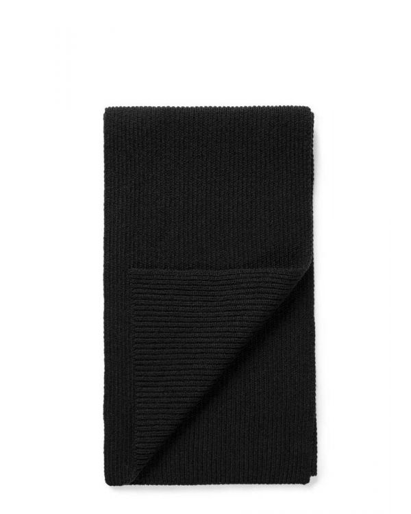 Cashmere Rib Scarf in Black