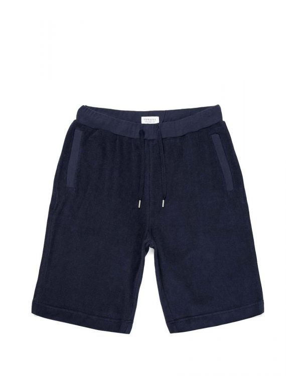 Men's Organic Cotton Towelling Shorts in Navy