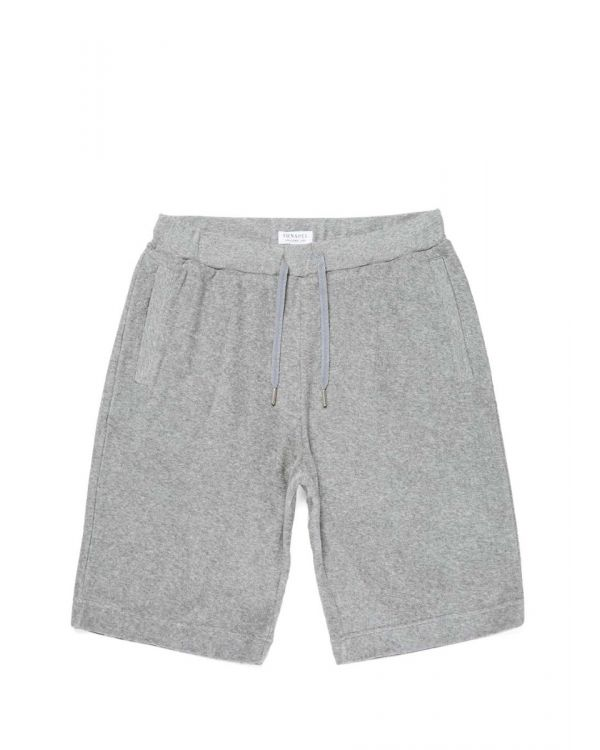 Men's Organic Cotton Towelling Shorts in Grey Melange