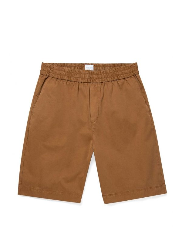 Men's Cotton Twill Drawstring Shorts in Tobacco