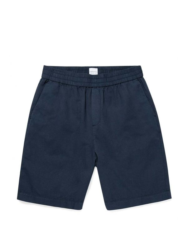 Men's Cotton Linen Drawstring Shorts in Navy