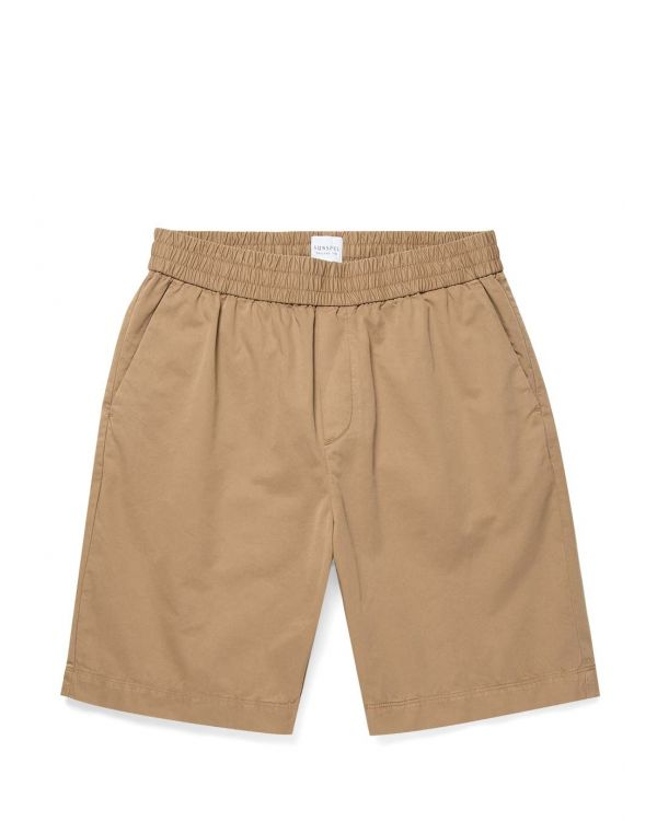 Men's Cotton Twill Drawstring Shorts in Stone