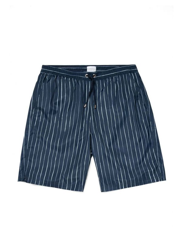 Men's Upcycled Marine Plastic Drawstring Swim Short in Navy Inky Stripe