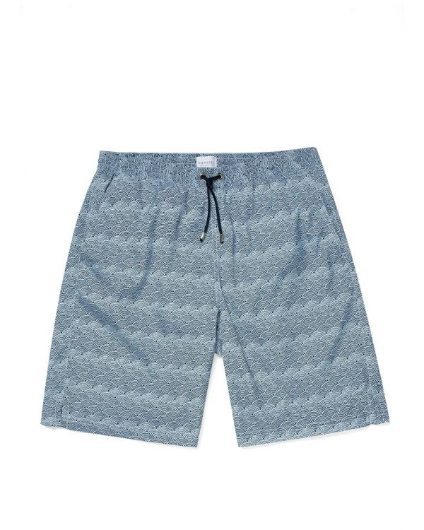 Men's Upcycled Marine Plastic Drawstring Swim Short in Light Blue Japanese Block Print