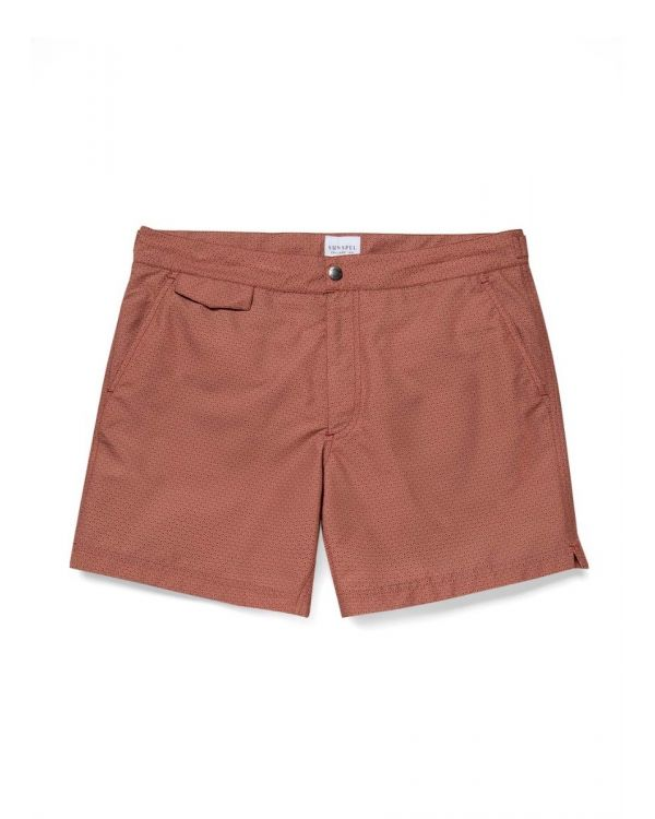 Men's Upcycled Marine Plastic Tailored Swim Short in Merlot Geo