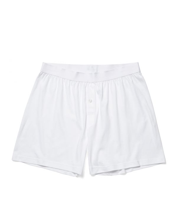 Men's Sea Island Cotton One-Button Shorts in White