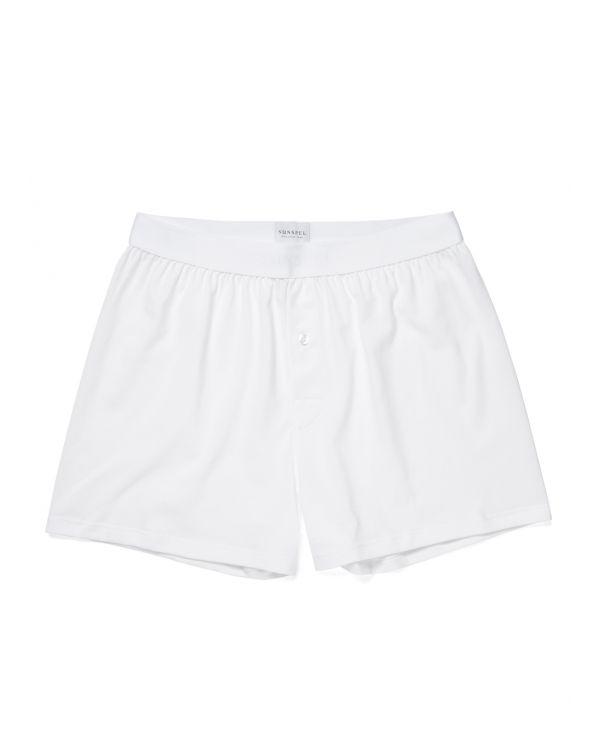 Men's Superfine Cotton One-Button Shorts in White