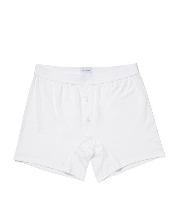 Men's Superfine Cotton Two-Button Shorts in White