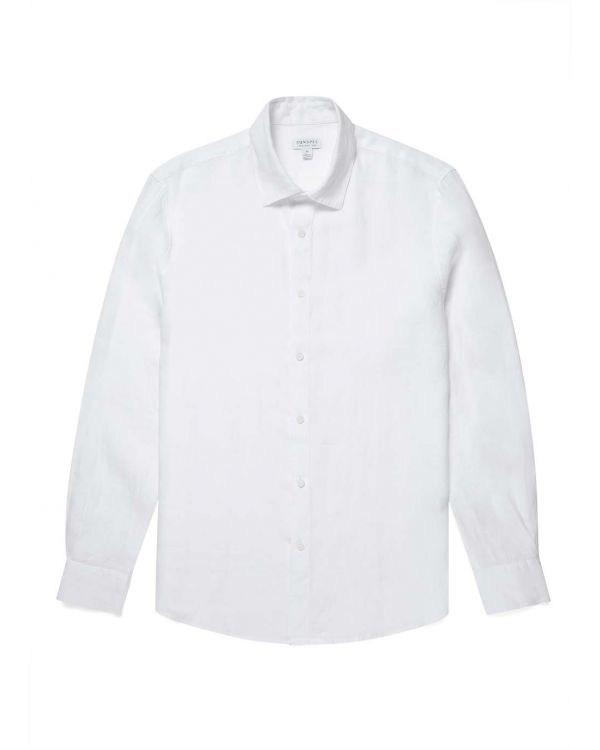 Men's Italian Linen Casual Shirt in White