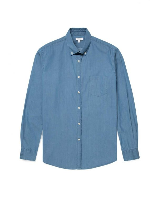 Men's Denim Button-Down Shirt in Mid Blue