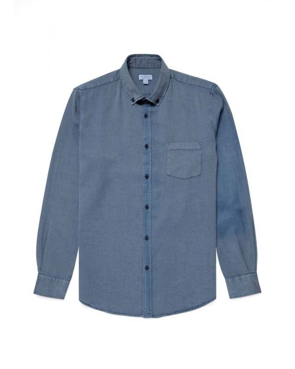 Men's Washed Indigo Flannel Button-Down Shirt in Indigo