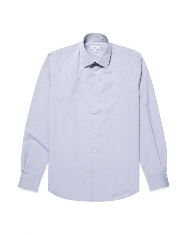 Men's Sea Island Cotton Smart Shirt in Light Blue