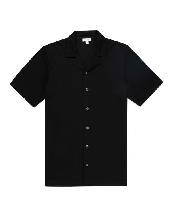 Men's Pima Piqué Camp Collar Shirt in Black