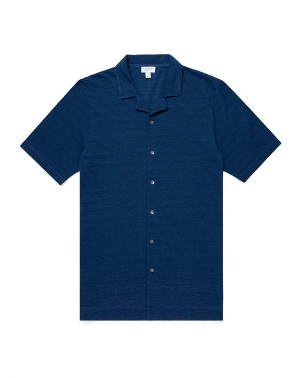Men's Indigo Dyed Piqué Camp Collar Shirt in Real Indigo