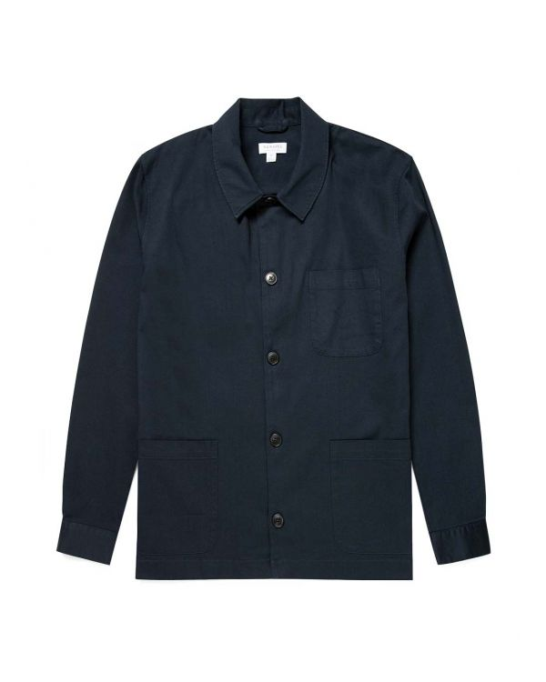 Men's Cotton Twill Cortina Overshirt in Navy