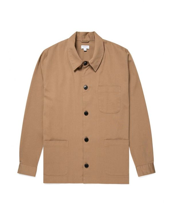 Men's Cotton Twill Cortina Overshirt in Stone