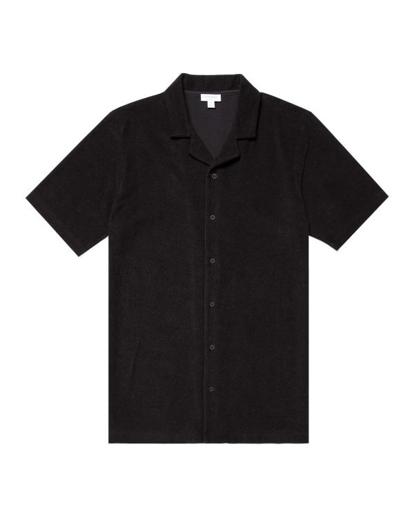 Men's Organic Cotton Towelling Camp Collar Shirt in Black