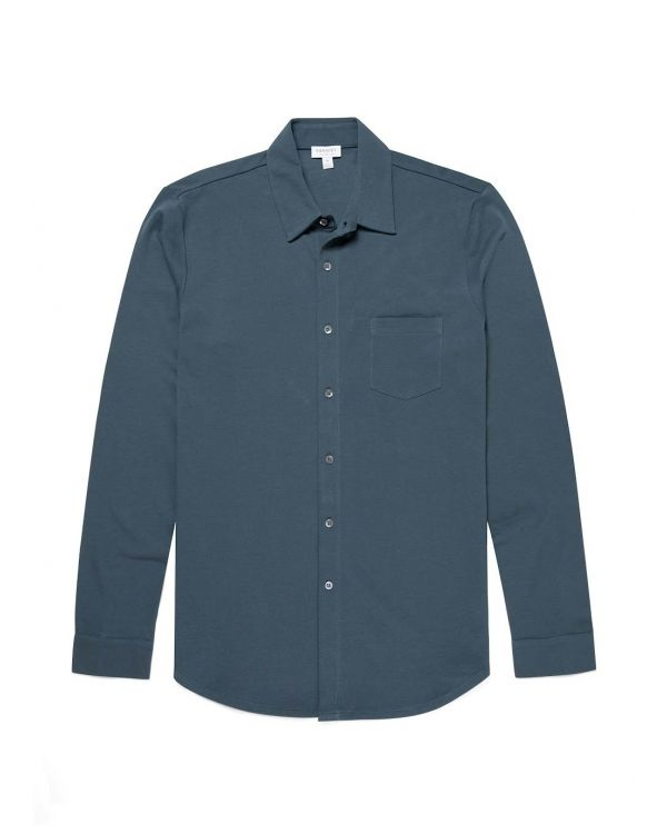 Men's Pima Piqué Shirt in Dark Petrol