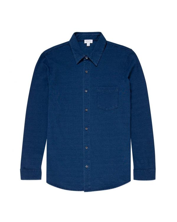 Men's Indigo Dyed Piqué Shirt in Real Indigo