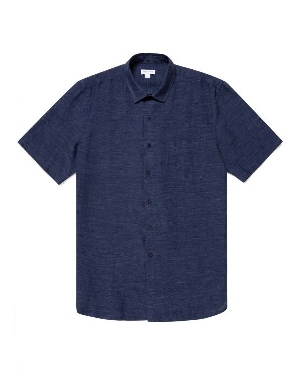 Men's Italian Linen Short Sleeve Shirt in Navy Melange