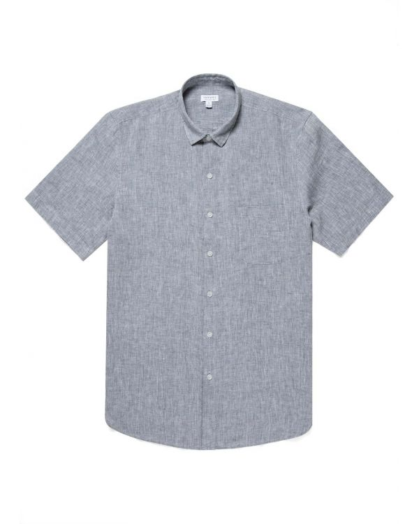 Men's Italian Linen Short Sleeve Shirt in Grey Melange