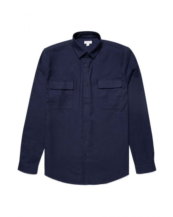 Men's Cotton Twill Overshirt in Navy