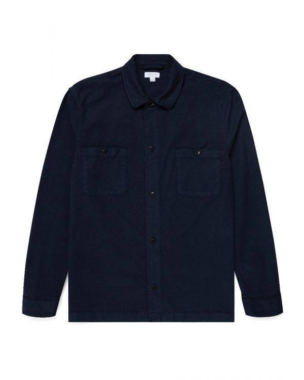 Men's Cotton Drill Overshirt in Navy