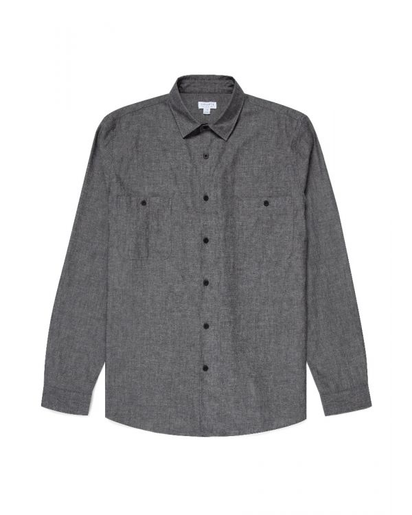 Men's Japanese Selvedge Chambray Overshirt in Black Denim
