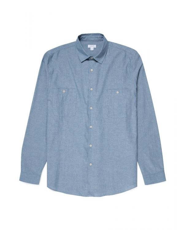 Men's Japanese Selvedge Chambray Overshirt in Blue
