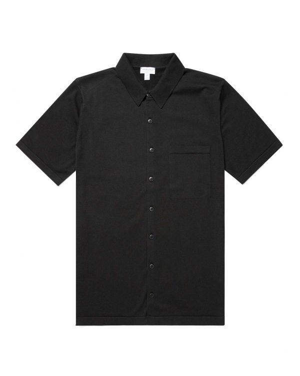Men's Sea Island Cotton Knit Short Sleeve Shirt in Black
